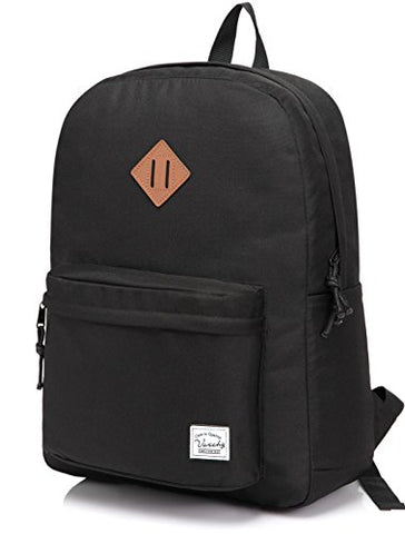 Vaschy Lightweight Backpack For School, Classic Basic Water Resistant Casual Daypack For Travel With Bottle Side Pockets (Black)