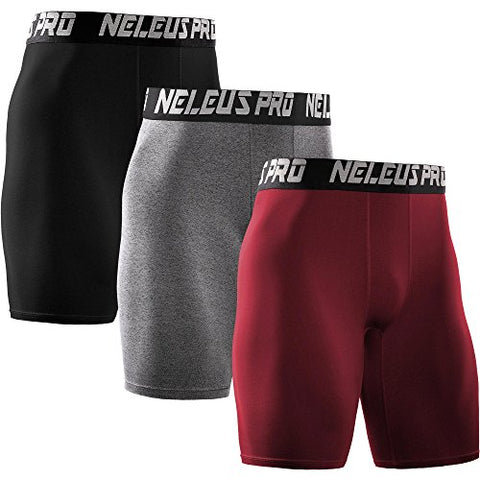 Neleus Men'S Athletic Compression Short,6028,Red,Black,Grey,Us M,Eu L