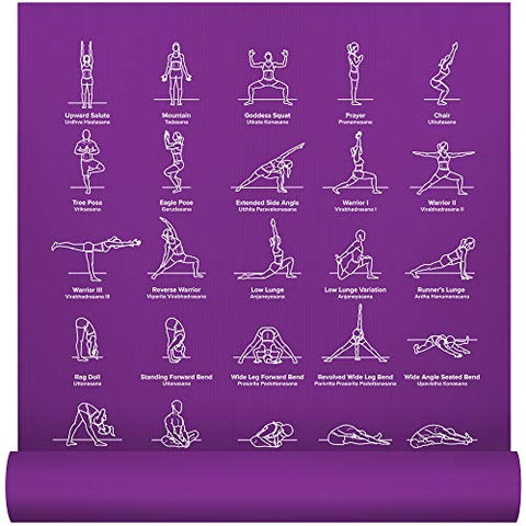 Newme Fitness Instructional Yoga Mat, Purple, Printed W/ 70 Illustrated Poses, 24 Wide X 68 Long, For Women &Amp; Men : Non Slip, Eco Friendly Pvc, Non Toxic : For Home Or Gym : 5Mm Thick