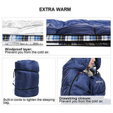 Redcamp Cotton Flannel Sleeping Bag For Adults, Xl 32/41/50F Comfortable, Envelope With Compression Sack Navy Blue 4Lbs Filling (91  X35'')