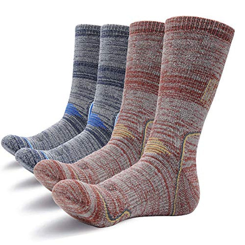 Gosuban Hiking Socks For Men And Women 2 Pairs Crew Sock Cushion Antiskid Wicking Outdoor Multi Performance Assort Colors (Shoe Size:Men 4-12,Women 5-13, Assortment Blue X 1 Pair,Brown X 1 Pair)