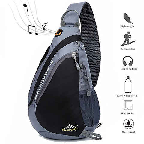Peicees Travel Sling Backpacks Crossbody Sling Chest Backpack Bag Single Shoulder Sling Bags With Water Bottle Holder And Strap Phone Pocket For Women Men(Black)