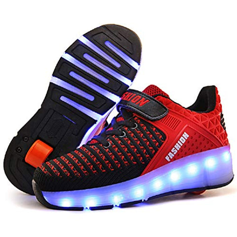Ufatansy Led Shoes Usb Charging Flashing Sneakers Light Up Roller Shoes Skates Sneakers With Wheels For Kids Girls Boys(12.5 M Us =Cn30, Single Wheel, Red)