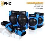 Phz Kids/Adults 3 In 1 Skateboard Protective Gear Set Knee Pads Elbow Pads Wrist Guards For Rollerblading Skateboard Cycling Skating Bike Scooter (Blue, Large)