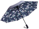 Fidus Inverted Reverse Sun&Amp;Rain Car Umbrella Large Windproof Travel Uv Umbrella For Women Men - Auto Open Close(Flower Black)