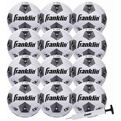 Franklin Sports Size Competition 100 Soccer Balls - Deflated With Pump White, 4