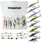 Thkfish Ice Fishing Lure, 26Pcs 1.1G-18G Assorted Ice Fishing Jigs Walleye Winter Fishing Lures Ice Box Set