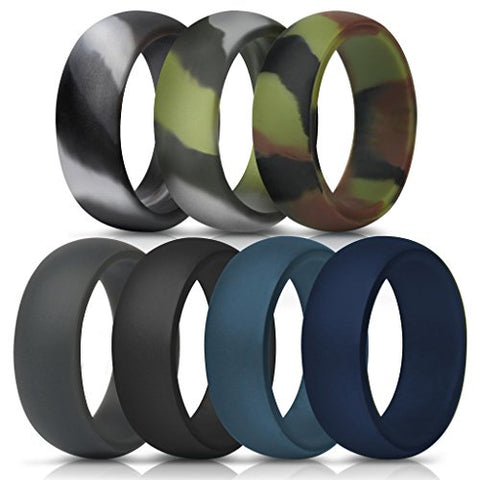 Thunderfit Silicone Rings, &Amp; Singles Wedding Bands For Men - 8.7 Mm Wide (Green Camo, Grey Camo, Camo, Dark Grey, Black, Dark Teal, Navy Blue, 11.5-12 (21.3Mm))