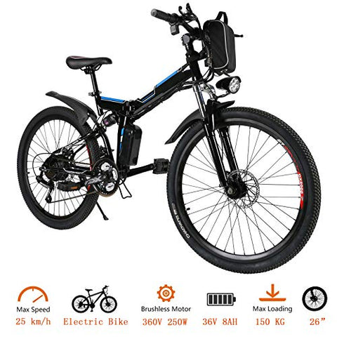 Tomasar Folding Electric Bike W/ 26 Inch Wheel, Lithium-Ion Battery (36V 250W), Premium Full Suspension And Shimano Gear, 2 Working Mode (Us Stock)