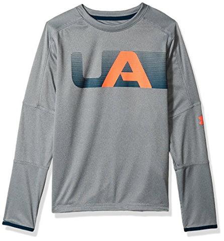 Under Armour Boys Tech Long Sleeve Tee, Steel Light Heather (035)/Magma Orange, Youth X-Small