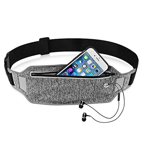 Running Waist Pack, Epicgadget(Tm) Lightweight Water Resistant Reflective Runner Belt Sports Fanny Pack Adjustable Waistband (Gray)