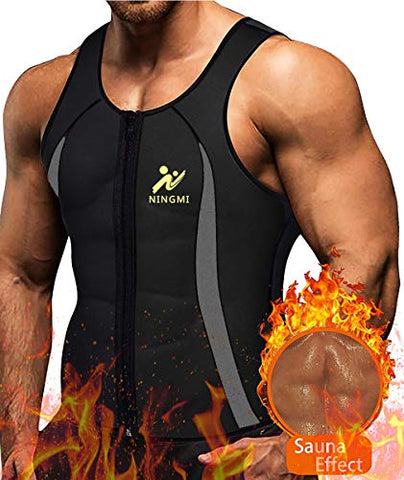 Ningmi Men'S Sweat Vest Hot Thermo Neoprene Slim Corset Weight Loss Zipper Tank Top Sauna Waist Trainer Workout Shirt (S)