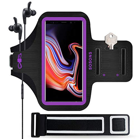 Galaxy Note 9 Armband, Sosons Water Resistant Sports Gym Armband Case For Samsung Galaxy Note 9,With Card Pockets And Key Slot,Fits Smartphones With Slim Case + Extension Strap(Purple)