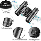 8X21 Compact Binoculars For Adult Kids, Lightweight Mini Binoculars With Pocket For Travel Hiking Bird Watching With Strap, Theater &Amp; Concert
