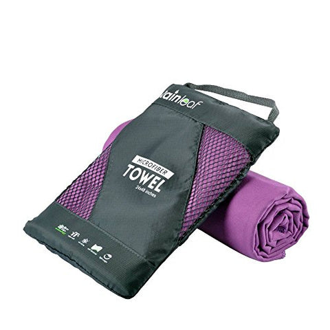 Rainleaf Microfiber Towel, 16 X 32 Inches. Purple.