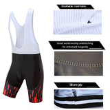 Coconut Pro Team Men'S Cycling Jersey Bib Shorts With 3D Padded (X-Large, Black/Red Stripe)