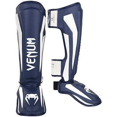 Venum Elite Shinguards - White/Navy Blue - M