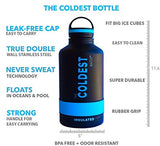 The Coldest Water Bottle 64 Oz Wide Mouth Vacuum Insulated Stainless Steel Hydro Travel Mug - Ice Cold Up To 36 Hrs/Hot 13 Hrs Double Walled Flask - With Strong Cap (Sailor Blue, 64 Oz)