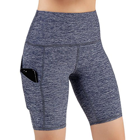 Ododos High Waist Out Pocket Yoga Short Tummy Control Workout Running Athletic Non See-Through Yoga Shorts,Navyheather,Small