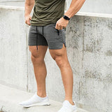 Men'S Solid Gym Workout Shorts Bodybuilding Running Fitted Training Jogging Short Pants With Zipper Pocke Lgrey L Tag Xxl