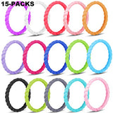 Rngeo Silicone Wedding Ring For Women, Thin Stackable Braided Rubber Wedding Bands, Antibacterial Comfortable Durable Fashionable Elegant Affordable Skin Safe &Amp; Friendly (Multicolored)