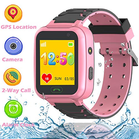Gps Tracker Smart Watch Phone Boys Girls  Kids Waterproof Gps Wifi Lbs Triple Positioning Wrist Watch With 2 Way Call Voice Chat Sos Camera Game Flashlight Alarm Clock Children Birthday Gifts (Pink)