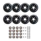Rollerex Inline Skate/Rollerblade Wheels Vxt500 80Mm (Or Or 2 Wheels W/Bearings, Spacers And Washers) (72Mm Steel Black (8 Wheels W/Bearings, Spacers And Washers))