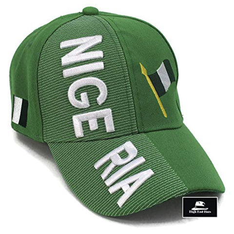 High End Hats Nations Of Africa Hat Collection 3D Embroidered Adjustable Baseball Cap, Nigeria With Flag Includes 1-Year Warranty, Green