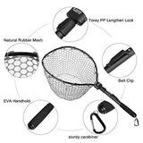 Plusinno Fly Fishing Net Fish Landing Net, Trout Bass Net Soft Rubber Mesh Catch And Release Net(27 )