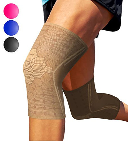 Sparthos Knee Compression Sleeves By (Pair)  Support For Sports, Running, Joint, Knee Pain Relief  Knee Brace For Men And Women  Elder Acl Pcl Bursitis Meniscus Tear Patella Runner Knee (Beige-Xl)
