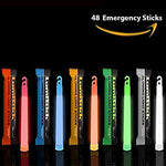 Lumistick 6 Inch Glowstick Rods - Individually Packed Emergency Light Stick - 12 Hour High Intensity Glow Lights (Assorted, 48 Glowsticks)