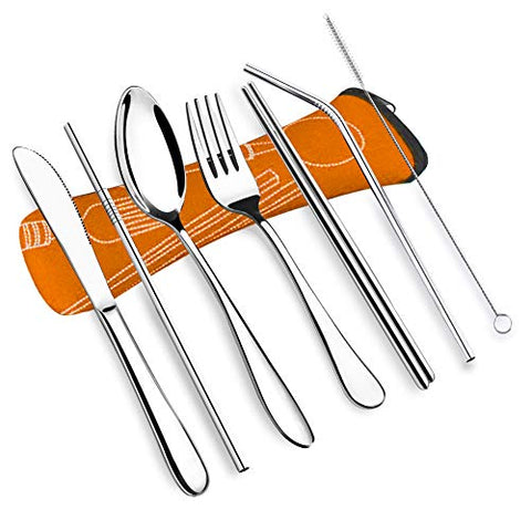 Vicbay 7Psc Reusable Lunch Cutlery Set, Stainless Steel Straws With Brush, Travel Camping Flatware Set Utensils, Drinking Metal Straws For Tumblers Beverage (Orange)