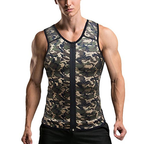 Mpeter Men Waist Trainer, Slimming Body Shaper Sweat Vest, Sauna Suit Tank Top Shirt For Weight Loss (Camouflage, 2Xl)