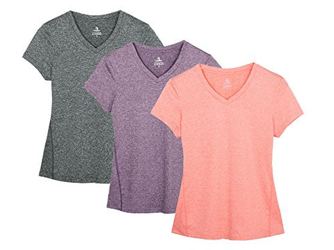 Icyzone Workout Shirts Yoga Tops Activewear V-Neck T-Shirts For Women Running Fitness Sports Short Sleeve Tees (S, Charcoal/Lavender/Peach)