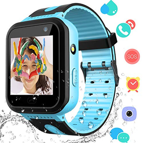 Kids Smart Watch Phone  Boys Girls Smartwatch For Kids Aged 3-12 Water Resistant Touch Screen Voice Calling Sos Alerts Camera Game Alarm Clock Wrist Watch Compatible With Ios Android (02 Blue)
