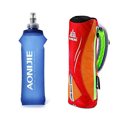 Geila Handheld Water Bottle For Running, 17 Oz Grip Handheld Bottle With Hand Strap Hydration Pack, Bpa Sport Soft Flas(Orange)