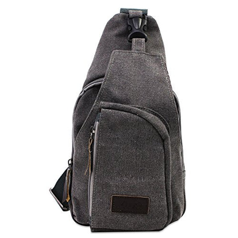 Aike Men Canvas Shoulder Casual Bag Sling Chest Bag Traveling Bag (Grey, Small)