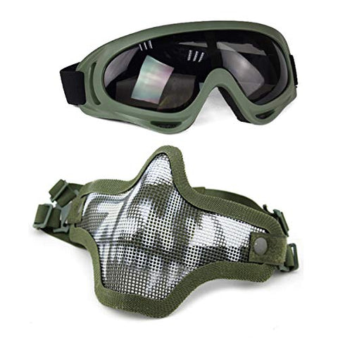 Aoutacc Airsoft Mask And Goggles Set, Half Face Full Steel Mesh Mask And Goggles For Cs/Hunting/Paintball/Shooting (Od Skull)