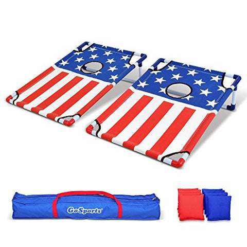 Gosports Portable Pvc Framed Cornhole Toss Game Set With 8 Bean Bags And Travel Carrying Case - Choose American Flag Design, Red &Amp; Blue Or Football