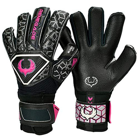 Renegade Gk Triton Frenzy Hybrid Cut Level 2 Youth &Amp; Adult Soccer Goalie Gloves With Finger Savers (Pro-Tek) - Soccer Goalie Gloves Size 9 - Goalkeeper Gloves Fingersave - Black &Amp; Pink/Purple