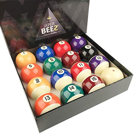 Japer Bees Premium Professional Billiard Ball/Pool Ball Set,Complete 16Balls, 2 1/4 Inch Regulation Size&Amp;5.9Oz Weight, Resin Ball