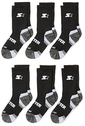 Starter Boys' Athletic Crew Socks, Amazon Exclusive, Black, Small (Shoe Size 9-3.5)