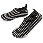 Vifuur Water Sports Shoes Barefoot Quick-Dry Aqua Yoga Socks Slip-On For Men Women Kids Blackstripes-38/39