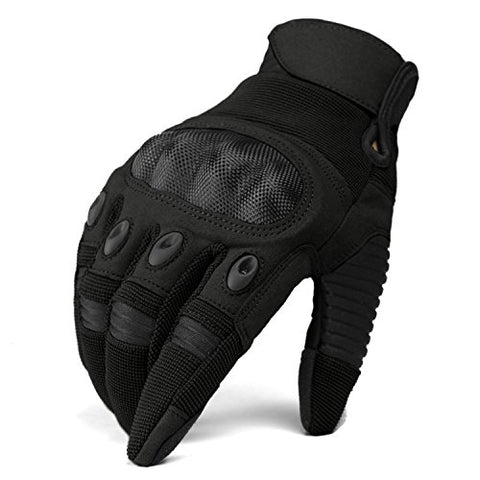 Tacvasen Tactical Outdoor Hard Knuckle Full Finger Gloves For Motorcycle Cycling Riding Hunting Hiking Black