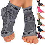 Techware Pro Ankle Brace Compression Sleeve - Relieves Achilles Tendonitis, Joint Pain. Plantar Fasciitis Foot Sock With Arch Support Reduces Swelling &Amp; Heel Spur Pain. Injury Recovery For Sports