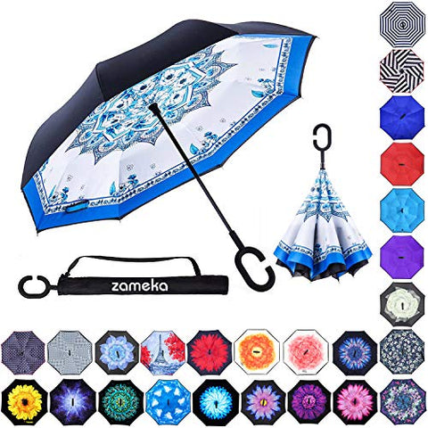 Zameka Double Layer Inverted Umbrellas Reverse Folding Umbrella Windproof Uv Protection Big Straight Umbrella Inside Out Upside Down For Car Rain Outdoor With C-Shaped Handle (Porcelain)