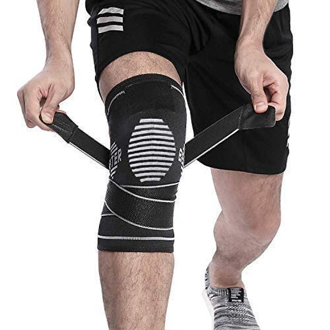 Berter Knee Brace For Men Women - Compression Sleeve Non-Slip For Running, Hiking, Soccer, Basketball For Meniscus Tear Arthritis Acl Single Wrap (Update Compression Straps Version, Medium)