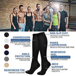 7 Pairs Compression Socks For Women And Men - Best Medical, Nursing, For Running, Athletic, Edema, Diabetic, Varicose Veins, Travel, Pregnancy &Amp; Maternity - 15-20Mmhg, Large / X-Large,  Assorted 3