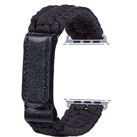 Topshion Nylon Braided Watch Strap Braided With Leather Adjustable Clasp Woven Watch Bandfor Iwatch 38Mm