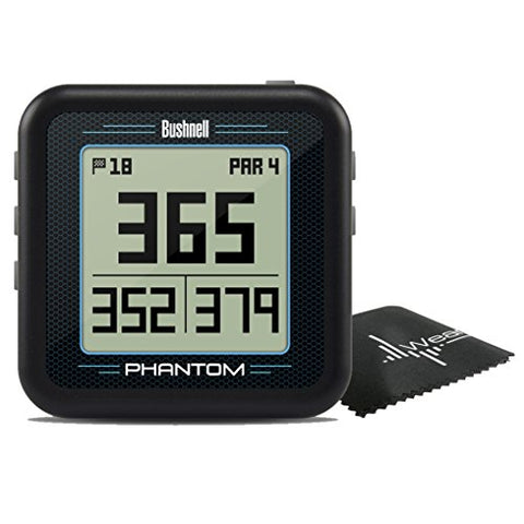 Bushnell Phantom Compact Handheld Golf Gps With Built-In Golf Cart Magnet And Wearable4U Cleaning Towel Bundle (Black)